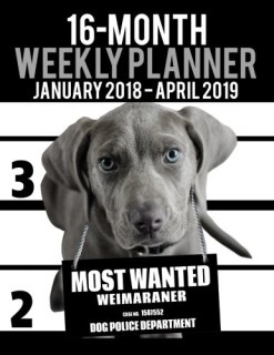 "2018-2019 Weekly Planner - Most Wanted Weimaraner: Daily Diary Monthly Yearly Calendar Large 8.5"" x 11"" Schedule Journal Organizer (Dog Planners 2018-2019) (Volume 38)"