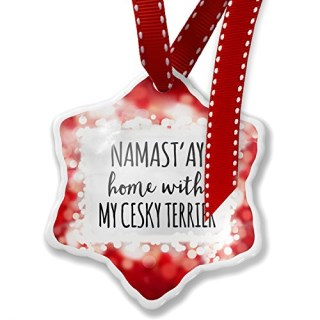 Christmas Ornament Namast'ay Home With My Cesky Terrier Simple Sayings, red - Neonblond