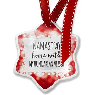 Christmas Ornament Namast'ay Home With My Hungarian Vizsla Simple Sayings, red - Neonblond