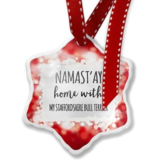 Christmas Ornament Namast'ay Home With My Staffordshire Bull Terrier Simple Sayings, red - Neonblond