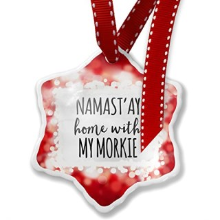 Christmas Ornament Namast'ay Home With My Morkie Simple Sayings, red - Neonblond