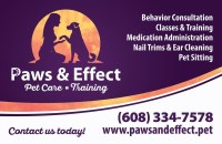 Paws & Effect - Pet Care and Training Oregon Wisconsin Logo