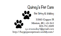 Quincy's Pet Care Mission British Columbia Logo