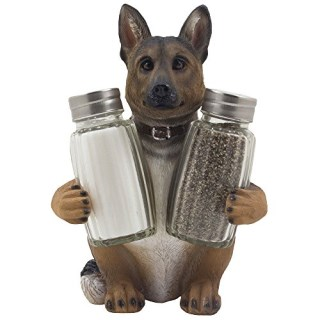 German Shepherd Police Dog Salt and Pepper Shaker Set with Decorative Display Stand Holder Canine Figurine for Kitchen Decor Table Centerpieces As K-9 Gifts for Policemen by Home-n-Gifts