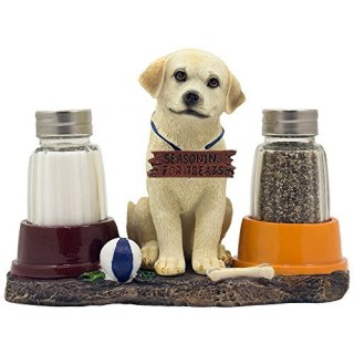 Cute Labrador Retriever Puppy Salt and Pepper Shaker Set with Food Bowls on Decorative Display Stand Holder Figurine for Pet Themed Kitchen Decor Spice Racks or Table Centerpieces As Gifts for Dog Lovers