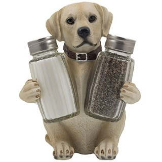 Labrador Retriever Salt and Pepper Shaker Set with Decorative Display Stand Dog Figurine Holder for Lodge & Hunting Cabin Kitchen Decor Table Centerpieces As Puppy Gifts for Hunters