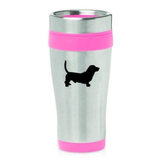 16oz Insulated Stainless Steel Travel Mug Basset Hound (Pink)