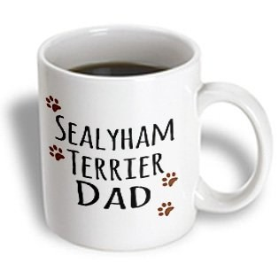 InspirationzStore Pet designs - Sealyham Terrier Dog Dad - Doggie by breed - muddy brown paw prints - doggy lover - pet owner love - 15oz Mug (mug_153980_2)