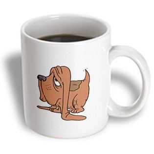 3dRose Cute and Cuddly Canine Cartoon Basset Hound Ceramic Mug, 15-Ounce