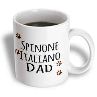 3dRose mug_153989_1 Spinone Italiano Dog Dad Doggie by Breed Muddy Brown Paw Prints Doggy Lover Proud Pet Owner Love Ceramic Mug, 11 oz, White