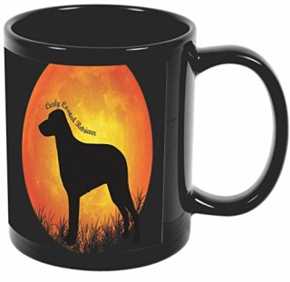 Rikki Knight Curly Coated Retriever Dog Silhouette By Moon Design 11 oz Photo Quality BLACK Ceramic Coffee Mugs Cups - Dishwasher and Microwave Safe