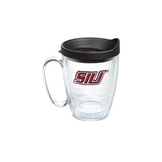 Tervis Southern Illinois Salukis Logo 16oz Clear Mug with Black Lid