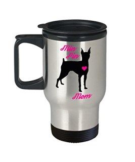 Min Pin Mom Travel Mug - Insulated Portable Coffee Cup With Handle & Lid - Best Christmas Gift Idea For Women Miniature Doberman Pinscher Dog Lovers - Novelty Mini Pet Quote Statement Accessories