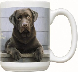 Chocolate Labrador Retriever on Porch Coffee Mug