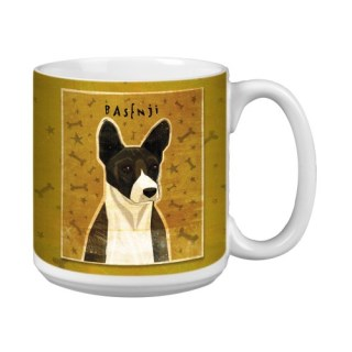 Tree-Free Greetings XM28031 John W. Golden Artful Jumbo Mug, 20-Ounce, Black Basenji