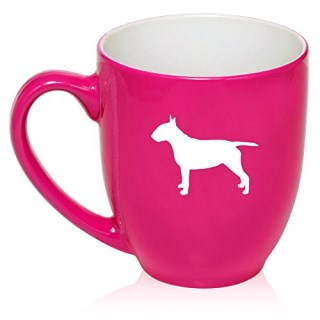 16 oz Large Bistro Mug Ceramic Coffee Tea Glass Cup Bull Terrier (Hot Pink)