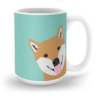 Society6 Shiba Inu Peek - Cute Shiba Doge Peeking Funny Dog Art Print Mint Turquoise Customizable Dog Gift Mug 15 oz