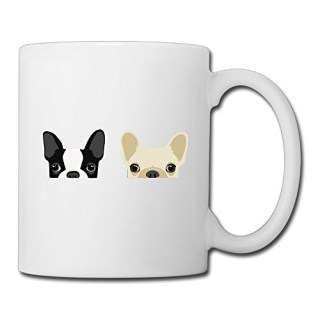 Boston Terrier And French Bulldog Friends Ceramic Custom Coffee/Tea Mug White 11oz For Funny Gifts