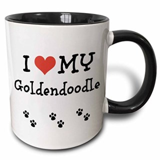 3dRose I Love My - Goldendoodle - Two Tone Black Mug, 11oz (mug_183658_4), 11 oz, Black/White