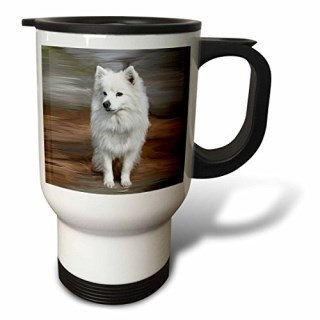 3dRose American Eskimo Toy Dog Travel Mug, 14-Ounce