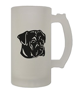 Cane Corso Head Black 16 Oz Frosted Glass Stein Beer Mug