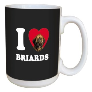 Tree Free Greetings LM45019 I Heart Briards Ceramic Mug with Full-Sized Handle, 15-Ounce, Tan and Black