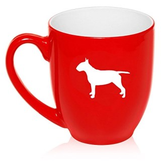 16 oz Large Bistro Mug Ceramic Coffee Tea Glass Cup Bull Terrier (Red)