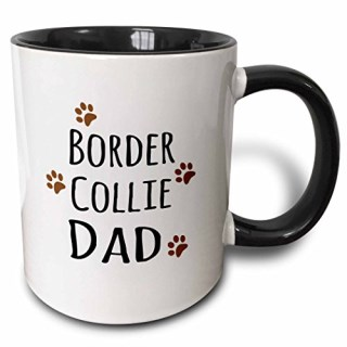 3dRose 3dRose Border Collie Dog Dad - Doggie by breed - brown muddy paw prints love - doggy lover - pet owner - Two Tone Black Mug, 11oz (mug_153867_4), , Black/White