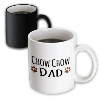 3dRose mug_153889_3 Chow Chow Dog Dad Doggie by Breed Brown Muddy Paw Prints Love Doggy Lover Proud Pet Owner Magic Transforming Mug, 11 oz, Black/White