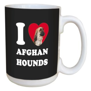 Tree Free Greetings LM45146 I Heart Afghan Hounds Ceramic Mug with Full-Sized Handle, 15-Ounce, White
