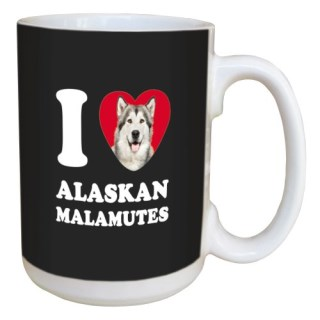 Tree Free Greetings LM44991 I Heart Alaskan Malamutes Ceramic Mug with Full-Sized Handle, 15-Ounce