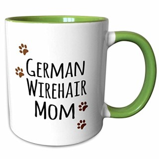 3dRose InspirationzStore Pet designs - German Wirehair Dog Mom - Wirehaired Pointer - Doggie by breed - brown paw prints doggy lover mama - 11oz Two-Tone Green Mug (mug_154124_7)