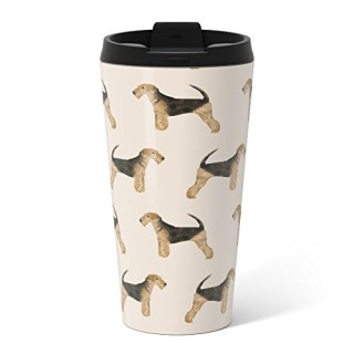 Society6 Airedale Terrier Pattern Dog Breed Cute Custom Dog Pattern Gifts For Dog Lovers Metal Travel Mug 15 oz