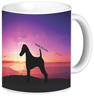 Rikki Knight Smooth Fox Terrier Dog at Sunset Photo Quality Ceramic Coffee Mug, 11-Ounce
