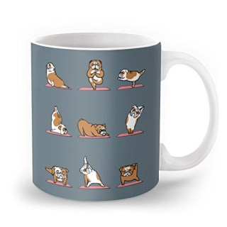 Society6 English Bulldog Yoga Mug 11 oz