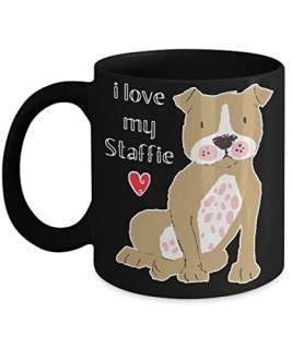 "Cute Brown Staffordshire Bull Terrier Mug for Dog Lovers ""I Love My Staffie"""