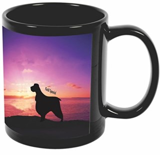 Rikki Knight Field Spaniel Dog At Sunset Design 11 oz Photo Quality BLACK Ceramic Coffee Mugs Cups - Dishwasher and Microwave Safe