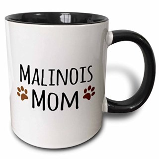 3dRose Malinois Mom Belgian Malinois Dog Breed Muddy Brown Doggie Paw Prints Doggy Lover Pet Owner Two Tone Black Mug, 11 oz, Black/White