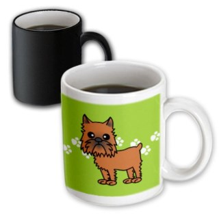 3dRose Cute Brussels Griffon Cropped Ears Green with Pawprints Magic Transforming Mug, 11-Ounce
