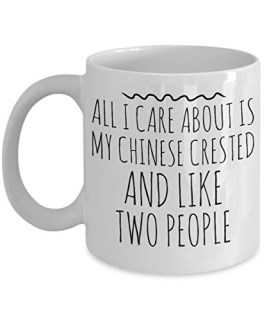 Funny Chinese Crested Mug - All I Care About Is My Chinese Crested And Like Two People - Chinese Crested Lover Gift - Unique 11 oz Ceramic Coffee or Tea Cup for Chinese Crested Mom
