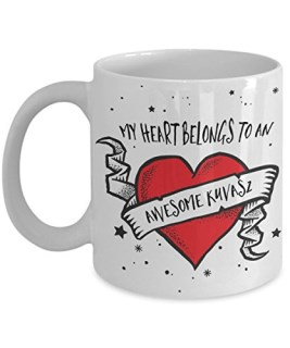 My Heart Belongs to an Awesome Kuvasz Mug - Dog Lover Gifts and Accessories Coffee Cup