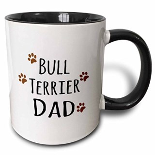 3dRose mug_153876_4 Bull Terrier Dog Dad Doggie by Breed Brown Muddy Paw Prints Love Doggy Lover Proud Pet Owner Two Tone Black Mug, 11 oz, Black/White