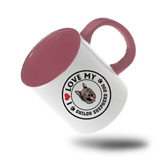 Style In Print I Love My Shiloh Shepherd Dogdog Style 1 Coffee Tea Colored Inside And Handle Mug White/Pink