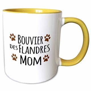 3dRose InspirationzStore Pet designs - Bouvier des Flandres Dog Mom - Doggie by breed - brown muddy paw prints love - doggy lover pet owner - 11oz Two-Tone Yellow Mug (mug_154082_8)