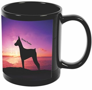 Rikki Knight German Pinscher Dog At Sunset Design 11 oz Photo Quality BLACK Ceramic Coffee Mugs Cups - Dishwasher and Microwave Safe