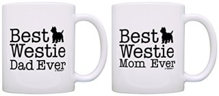 West Highland Terrier Gifts Best Westie Mom and Dad Ever West Highland Terrier 2 Pack Gift Coffee Mugs Tea Cups White