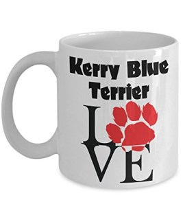 Perfect Dog Lover Gifts - Love Paws Red Mug (11 oz, Kerry Blue Terrier)