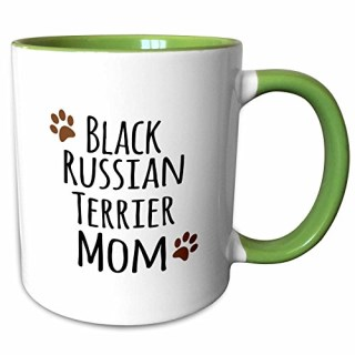 3dRose InspirationzStore Pet designs - Black Russian Terrier Dog Mom - Doggie by breed - brown muddy paw print - doggy lover - pet owner - 11oz Two-Tone Green Mug (mug_154075_7)