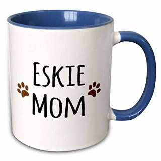 "3dRose mug_154116_6 ""Eskie Mom American Eskimo Dog Breed Pet owner Brown Paw Prints Doggie"" Two Tone Blue Mug, 11 oz, Blue/White"