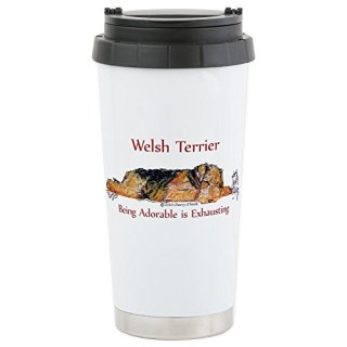 CafePress - Exhausted Welsh Terrier Stainless Steel Travel Mug - Stainless Steel Travel Mug, Insulated 16 oz. Coffee Tumbler